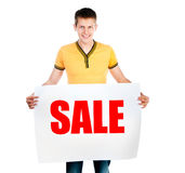 Man holding  rd sale Stock Photography