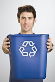 Man Holding Recycle Basket Royalty Free Stock Photos