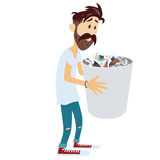 Man Holding Recycle Bin. Vector Illustration Royalty Free Stock Image