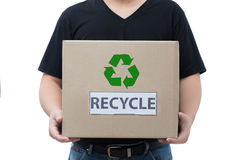 Man holding recycle box Stock Photography