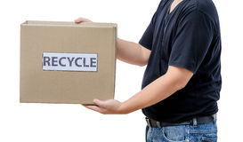 Man holding recycle box Royalty Free Stock Photography