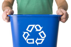 Man Holding  Recycling Bin Stock Images