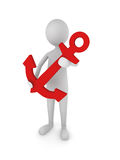 Man Holding Red Anchor. Concept depicting 3D man holding a red anchor Stock Images