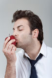 Man holding red apple Royalty Free Stock Photos