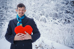 Man holding red heart Royalty Free Stock Photo