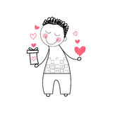 Man Holding Red Heart Shape Gift Box Love Drawing Stock Photo