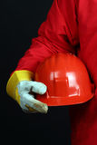 Man holding red helmet Royalty Free Stock Photography