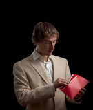 Man holding red letter Stock Images