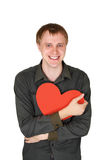 Man Holding Red Paper Heart And Laughing Royalty Free Stock Images