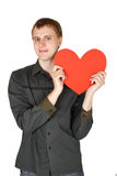 Man holding red paper heart, declaration of love Stock Image
