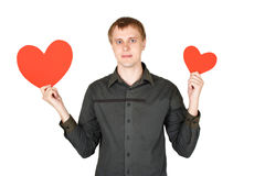 Man holding red paper hearts isolated Royalty Free Stock Photography