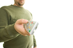 Man holding remote control. A man holding remote control Stock Photography