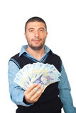 Man holding Romanian money Royalty Free Stock Photos