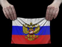 Man holding Russian flag Royalty Free Stock Images