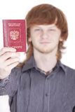 Man holding russian passport Royalty Free Stock Image