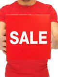 Man holding sale sign Royalty Free Stock Photo