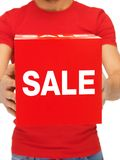 Man holding sale sign Stock Image