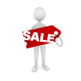 Man Holding Sale Tag. 3D man holding red sale tag. Great concept for advertisement, sale announcement, etc Stock Photos