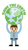 Man Holding Save The Earth Banner with Earth Icon Royalty Free Stock Photo