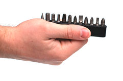 Man holding screw drivers Royalty Free Stock Photography