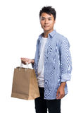 Man holding with shopping bag Royalty Free Stock Photo