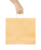 Man holding a shopping recycle bag. Stock Images