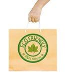 Man holding a shopping recycle bag. Stock Photos