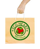 Man holding a shopping recycle bag. Stock Photos