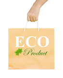 Man holding a shopping recycle bag. Royalty Free Stock Photo