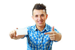 Man holding and showing blank card Royalty Free Stock Photography