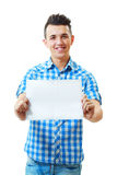 Man holding and showing blank card Stock Photo