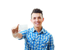 Man holding and showing blank card Stock Images