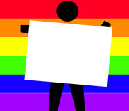 Man Holding a Sign. Man Holding a Blank Sign or Business Card Against a Rainbow Background Stock Image