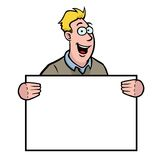 Man holding a sign. Man in casual clothing holding a sign Royalty Free Stock Photography