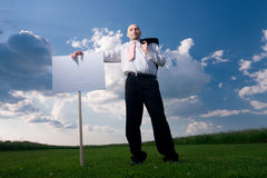 Man Holding Sign Royalty Free Stock Images