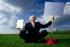 Man Holding Sign Stock Photography