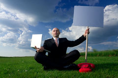 Man Holding Sign Stock Images