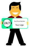 Man holding sign of man 24 hour Call Center. Vector man holding sign of man 24 hour Call Center Stock Image