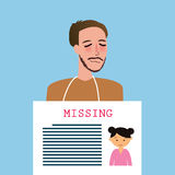 Man holding sign of missing children kids announcement board Royalty Free Stock Photo