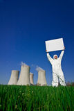 Man holding sign nuclear power Royalty Free Stock Photography