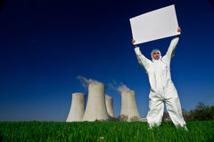 Man holding sign nuclear power Stock Photography