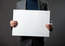 Man holding sign. Royalty Free Stock Photo