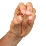 Man holding a silver ring Stock Photography