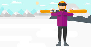 Man holding skis. Stock Images
