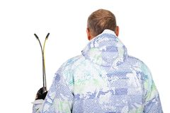 Man holding skis on isolated - back view Royalty Free Stock Photo