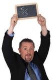 Man holding slate Stock Photo