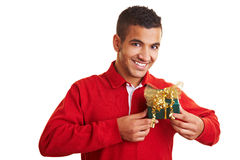 Man holding a small gift Stock Photo