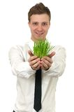 Man holding a small plant Royalty Free Stock Photography
