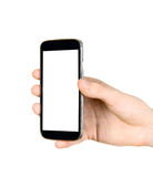 Man is holding smartphone Stock Photography