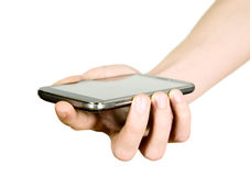 Man is holding smartphone Stock Images